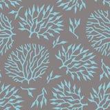 Naadloze vectorpatroon kleurrijke algen en installaties Stock Afbeeldingen