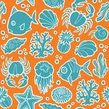 Naadloze vectorpatroon mariene dieren en planten Royalty-vrije Stock Afbeelding