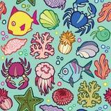 Naadloze vectorpatroon mariene dieren en planten Stock Afbeelding