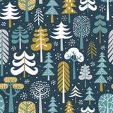 Naadloze vectorpatroon van het de winter het sneeuwhout vector illustratie