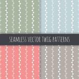 Naadloze vectorpatroonreeks Witte takjes op groenachtig blauwe roze grijze achtergrond De hand getrokken abstracte illustratie va Royalty-vrije Stock Foto