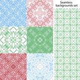 Naadloze vectorreeks als achtergrond Uitstekende geometrische texturen Gekleurd netto patroon Decoratieve achtergrond voor kaart, Royalty-vrije Stock Foto's
