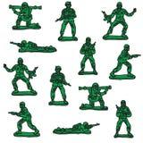 Naadloze vectorstuk speelgoed militairen stock foto's