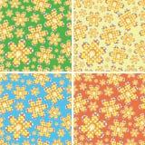 Naadloze vier-kleur bloemen Stock Afbeeldingen