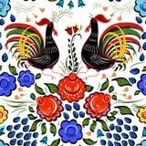 Naadloze Volksachtergrond De kleurrijke bloemen en doorbladert met hanen o Royalty-vrije Stock Fotografie
