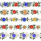 Naadloze Volksgrenzen de kleurrijke bloemen en doorbladert op wh Stock Afbeelding