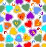 Naadloze vrolijke achtergrond met kleurrijke harten Stock Foto