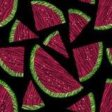 Naadloze watermeloentextuur, eindeloze fruitachtergrond Stock Afbeeldingen