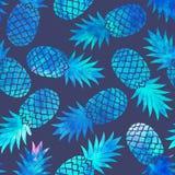Naadloze waterverf Uitstekende ananas Royalty-vrije Stock Foto's
