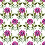 Naadloze waterverfachtergrond die uit roze bloemen en bloemblaadjes bestaat Stock Fotografie