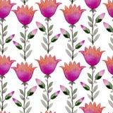Naadloze waterverfachtergrond die uit roze bloemen en bloemblaadjes bestaat Royalty-vrije Stock Fotografie