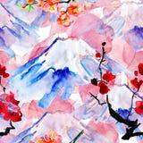 Naadloze waterverfachtergrond Fujiberg met sakura Stock Afbeeldingen