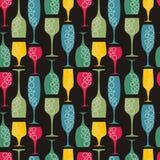 Naadloze wijnglasachtergrond Stock Afbeeldingen