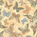 Naadloze wijnoogst gevormde vlinderachtergrond Stock Foto's