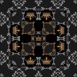 Naadloze Wijnoogst. Het Patroon van het behang. Royalty-vrije Stock Afbeeldingen