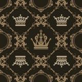 Naadloze Wijnoogst. Het Patroon van het behang. Vector Royalty-vrije Stock Fotografie