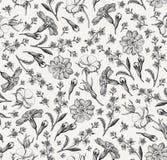 Naadloze wildflowers die van van achtergrond patroon Realistische geïsoleerde bloemen Uitstekende agrostemma sleutelbloemcroton g stock illustratie