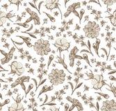 Naadloze wildflowers die van van achtergrond patroon Realistische geïsoleerde bloemen Uitstekende agrostemma sleutelbloemcroton g vector illustratie
