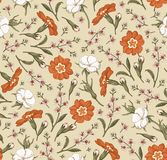 Naadloze wildflowers die van van achtergrond patroon Realistische geïsoleerde bloemen Uitstekende agrostemma sleutelbloemcroton g royalty-vrije illustratie