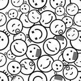 Naadloze witte achtergrond van creatieve emoties Verschillende emoties van mensen Dalmatisch bont Stock Foto's