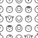 Naadloze witte achtergrond van creatieve emoties Verschillende emoties van mensen Dalmatisch bont Royalty-vrije Stock Afbeelding