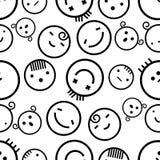 Naadloze witte achtergrond van creatieve emoties Verschillende emoties van mensen Dalmatisch bont Royalty-vrije Stock Afbeeldingen