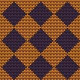 Naadloze wollen gebreide oranje-violette Argyle Royalty-vrije Stock Afbeelding
