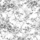 Naadloze zwart-wit bloemenachtergrond met rozen Stock Foto