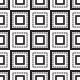 Naadloze zwart-wit ornamentvierkanten Royalty-vrije Stock Afbeelding