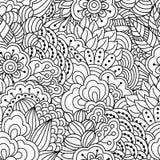 Naadloze zwart-witte achtergrond Bloemen, etnisch, hand getrokken elementen voor ontwerp Stock Fotografie