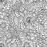 Naadloze zwart-witte achtergrond Bloemen, etnisch, hand getrokken elementen voor ontwerp Stock Afbeeldingen