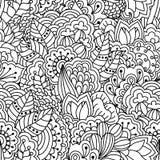 Naadloze zwart-witte achtergrond Bloemen, etnisch, hand getrokken elementen voor ontwerp Royalty-vrije Stock Fotografie