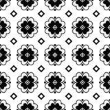 Naadloze zwart-witte achtergrond met decoratieve bloemen Royalty-vrije Stock Afbeelding