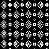 Naadloze zwart-witte achtergrond met decoratieve bloemen Royalty-vrije Stock Foto's