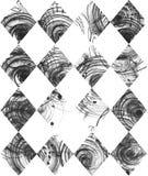 Naadloze zwart-witte die achtergrond, op handdrawn inktruit wordt gebaseerd, hand - in stijl uit de vrije hand, laconiek, onvolma Royalty-vrije Stock Foto's
