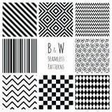 Naadloze Zwart-witte geometrische reeks als achtergrond Stock Fotografie
