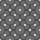 Naadloze zwart-witte geometrische vectorachtergrond, eenvoudige streptokok Royalty-vrije Stock Afbeelding