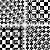 Naadloze zwart-witte geplaatste patronen Abstracte geometrische texturen vector illustratie