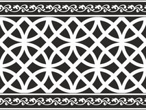 Naadloze zwart-witte gotische bloemengrens Royalty-vrije Stock Foto