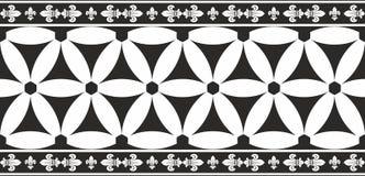 Naadloze zwart-witte gotische bloemengrens Stock Afbeeldingen