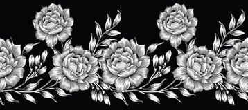 Naadloze zwart-witte textiel bloemengrens royalty-vrije illustratie