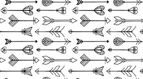 Naadloze zwart-witte textuur met Boho-pijlen stock illustratie