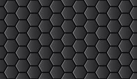 Naadloze zwarte glanzende hi-tech hexagonale patroonvector royalty-vrije illustratie