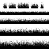 Naadloze zwarte grassilhouetten Royalty-vrije Stock Afbeelding