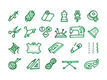 Naaiende geplaatste pictogrammen Royalty-vrije Stock Afbeelding
