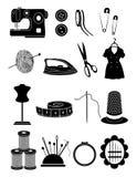 Naaiende geplaatste pictogrammen Royalty-vrije Stock Foto's