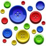 Naaiende kleurenknopen Stock Foto's