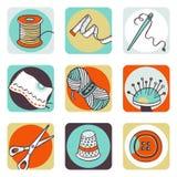 Naaiende pictogrammen Royalty-vrije Stock Foto