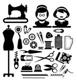 Naaiende pictogrammen Royalty-vrije Stock Foto's