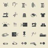 Naaiende pictogrammen Royalty-vrije Stock Afbeeldingen
